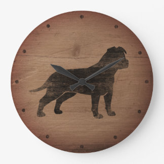 American Staffordshire Terrier Silhouette Rustic Large Clock