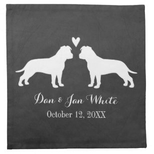 American Staffordshire Terriers Wedding with Text Napkin