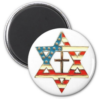American Star of David With Cross Magnet