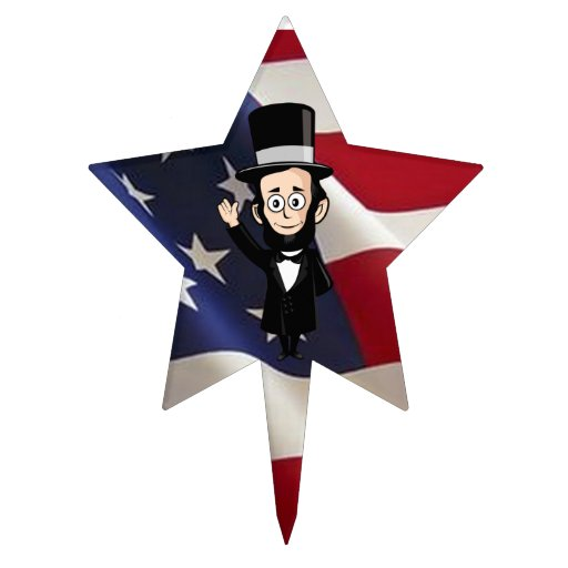 American Stars and Bars with Honest Abe Cake Toppers