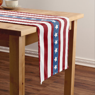 American Stars and Stripes red white blue along Long Table Runner