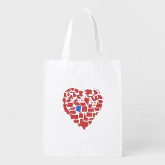 American States Heart Mosaic Arizona Red Reusable Grocery Bag