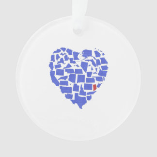 American States Heart Mosaic Indiana Blue Ornament