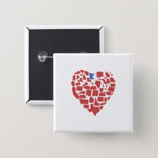 American States Heart Mosaic Minnesota Red 15 Cm Square Badge