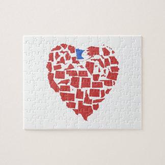 American States Heart Mosaic Minnesota Red Jigsaw Puzzle