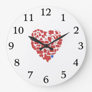 American States Heart Mosaic Ohio Red Large Clock