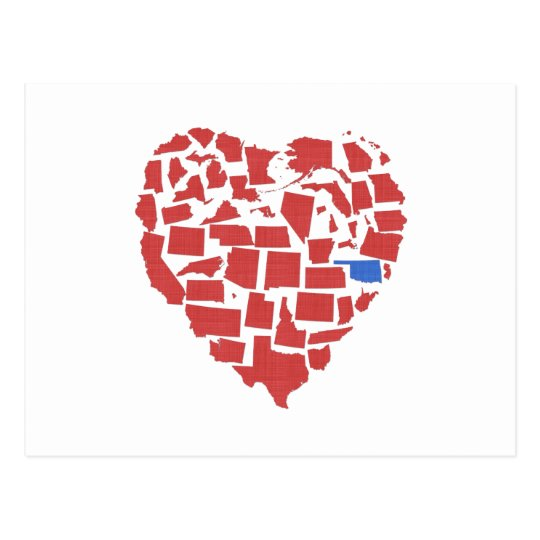 American States Heart Mosaic Oklahoma Red Postcard