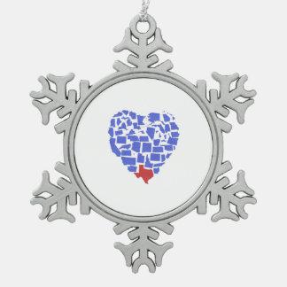 American States Heart Mosaic Texas Blue Snowflake Pewter Christmas Ornament