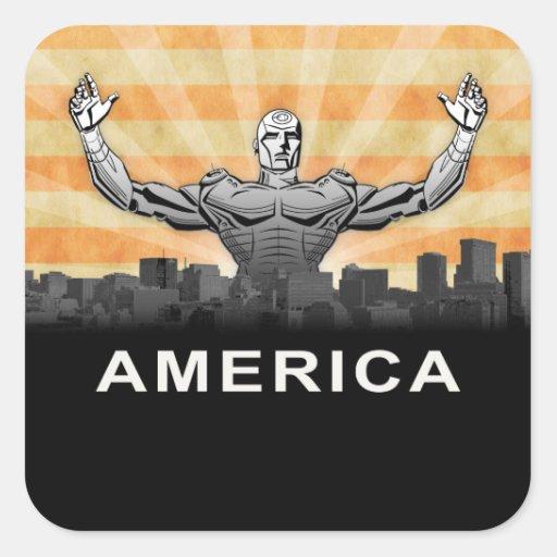 American Super Hero Square Sticker