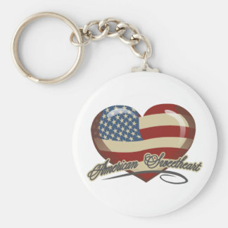 American Sweetheart Heart Basic Round Button Key Ring