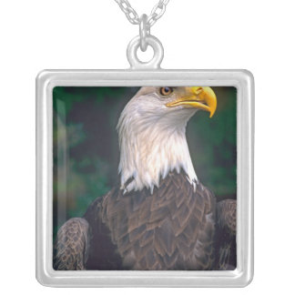 American Symbol of Freedom The Bald Eagle in the Square Pendant Necklace