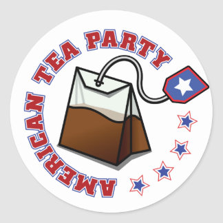 American Tea Party Round Stickers