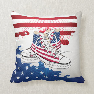 American Teens Patriotic Shoes Pillow Cushions