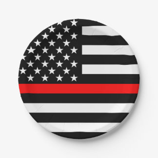 American Thin Red Line Graphic Decor Paper Plate