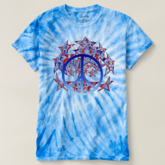 American Tie-Dyed Stars with Peace Symbol T-Shirt