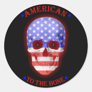 American to the bone fade classic round sticker