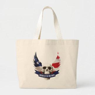American to the Bone Skull Large Tote Bag