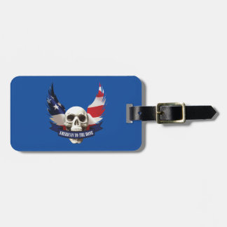 American to the Bone Skull Luggage Tag