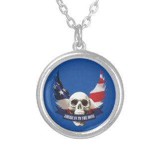 American to the Bone Skull Silver Plated Necklace