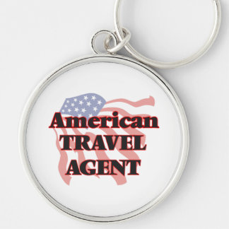 American Travel Agent Silver-Colored Round Key Ring