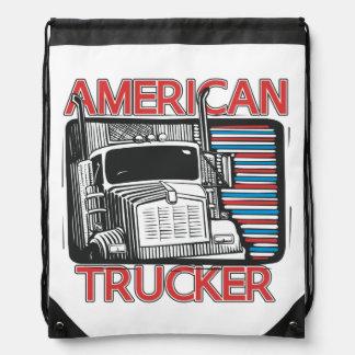 American Trucker Truck Drivers Drawstring Bag Drawstring Backpacks