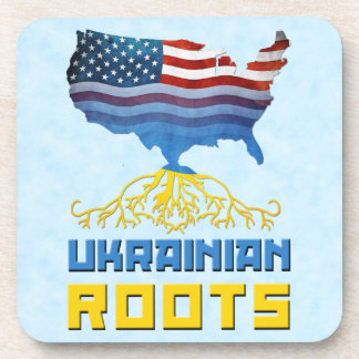 American Ukrainian Roots Cork Coasters