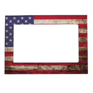 American United States Rustic Flag Magnetic Frame