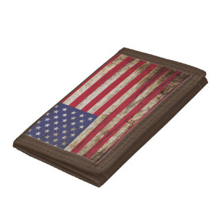 American United States Rustic Flag Trifold Wallet