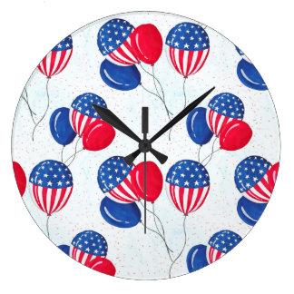 American USA Flag Balloon Patriotic July 4th Large Clock