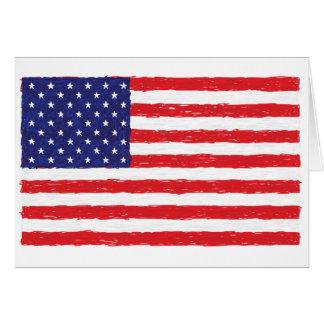 American USA Flag *Hand Sketch* Us Flag Greeting Card