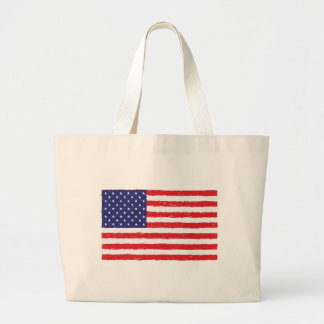 American USA Flag *Hand Sketch* Us Flag Jumbo Tote Bag