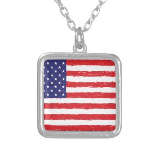 American USA Flag *Hand Sketch* Us Flag Square Pendant Necklace