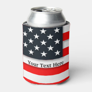 American USA Flag Patriotic July 4th Can Cooler