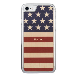 American USA Flag Patriotic July 4th Carved iPhone 7 Case