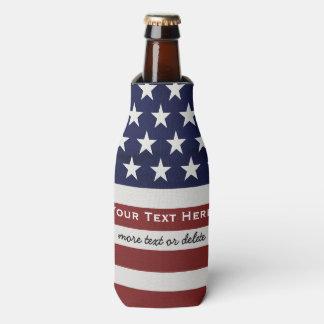 American USA Flag Patriotic July 4th Custom Bottle Bottle Cooler