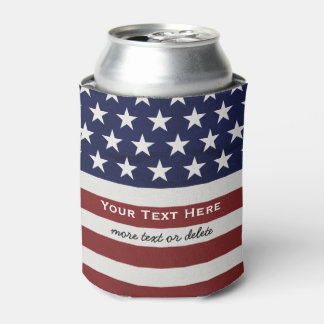 American USA Flag Patriotic July 4th Custom Can Cooler