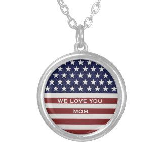 American USA Flag Patriotic July 4th Custom Round Pendant Necklace
