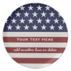 American USA Flag Patriotic July 4th Custom Plate
