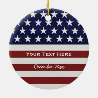 American USA Flag Patriotic July 4th Custom Round Ceramic Decoration