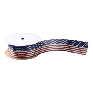 American USA Flag Patriotic July 4th Custom Satin Ribbon