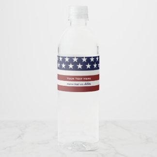 American USA Flag Patriotic July 4th Custom Water Bottle Label