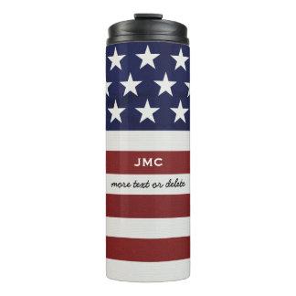 American USA Flag Patriotic July 4th Monogram Thermal Tumbler