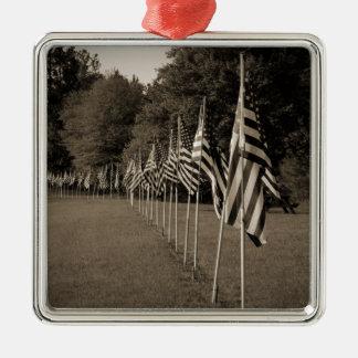 American Veteran Flags Silver-Colored Square Decoration