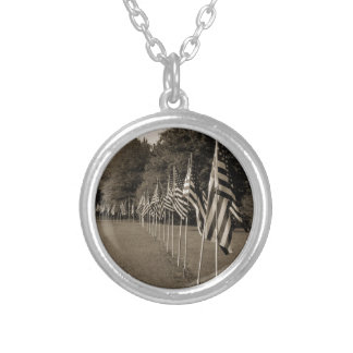 American Veteran Flags Silver Plated Necklace