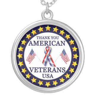 American Veterans 2 Silver Plated Necklace