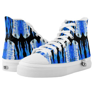 American vintage poster pattern on boots. high tops