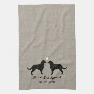 American Water Spaniels with Heart and Text Tea Towels