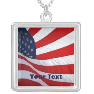 American Waving Flag Sterling Silver Necklace Pendants