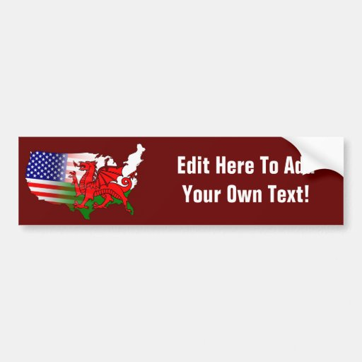 American Welsh Flags Map Bumper Stickers