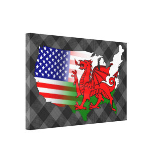 American Welsh Flags Map Canvas Print